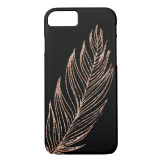 Plume rose de scintillement de Faux d'or Coque iPhone 7