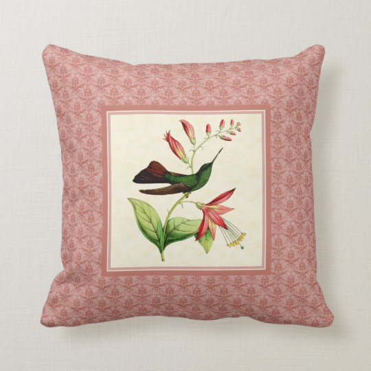 Plumeleteer Hummingbird Damask Pillow