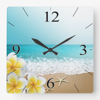 Plumeria Beach Tropical Island Square Wall Clock