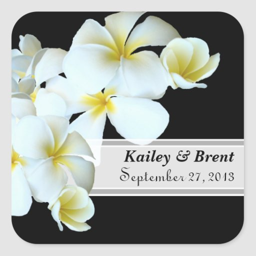 Plumeria Black and White Personalized Labels Stickers