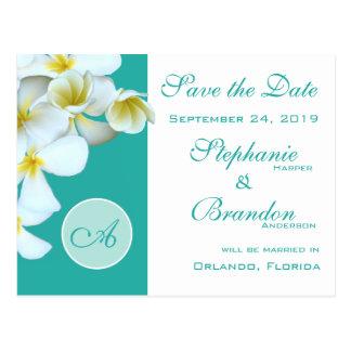 Plumeria Blue Monogram Save the Date Postcards