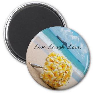 Plumeria Bouquet Live. Laugh. Love. Magnet
