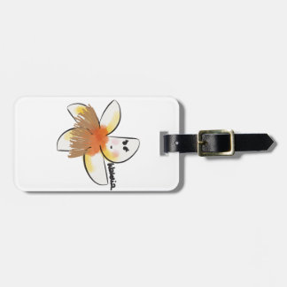 Plumeria dancing hula luggage tag