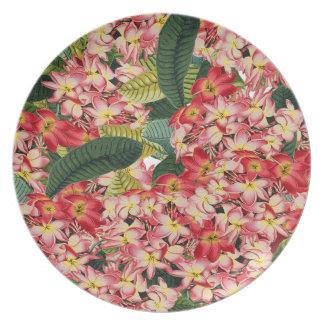 Plumeria Floral Island Tropical Flowers Plate
