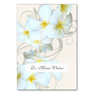 Plumeria Flourish Cream Tented Place Cards