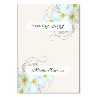 Plumeria Flourish Cream Tented Place Cards Table Card