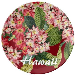 Plumeria Flowers Floral Hawaii Porcelain Plate