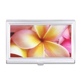 Plumeria Flowers Hawaiian Frangipani Floral Business Card Holder
