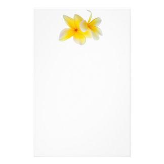 Plumeria Flowers Hawaiian White Yellow Frangipani Custom Stationery