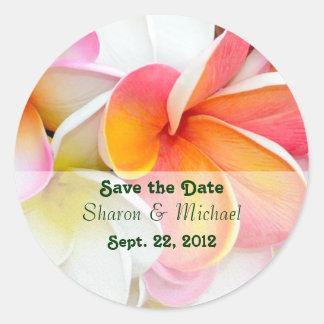 Plumeria Flowers Wedding Classic Round Sticker