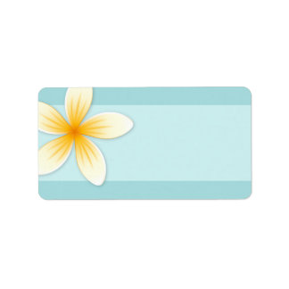 Plumeria Frangipani flower on pale aqua blue blank Label