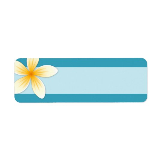 Plumeria Frangipani flower on teal blue blank Return Address Label