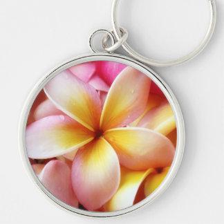 Plumeria Frangipani Hawaii Flower Customized Blank Silver-Colored Round Keychain