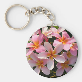 Plumeria Hawaiian Flowers Pink Key Chain