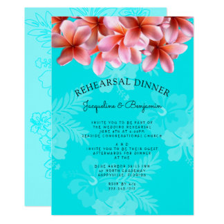 Plumeria Hawaiian Rehearsal Dinner Invitation