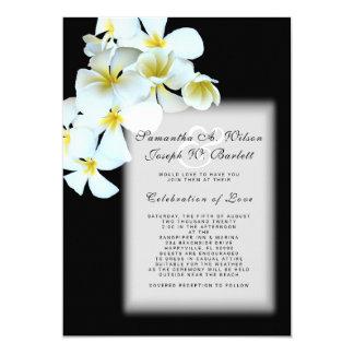 Plumeria on Black Hawaiian Wedding Invitation