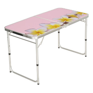 Plumeria on Pretty Pink Beer Pong Table
