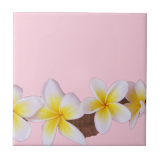 Plumeria on Pretty Pink Ceramic Tile