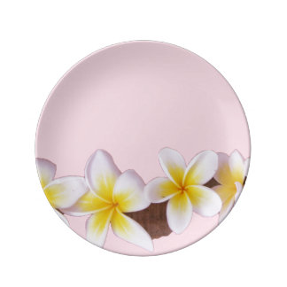 Plumeria on Pretty Pink Plate