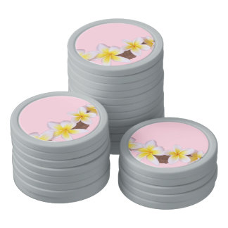 Plumeria on Pretty Pink Poker Chips