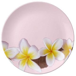 Plumeria on Pretty Pink Porcelain Plate