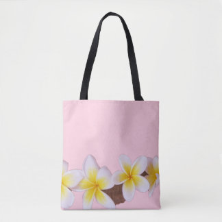 Plumeria on Pretty Pink Tote Bag
