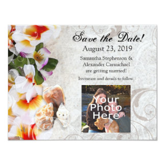 Plumeria Orchid Lei in Sand Photo Save the Date Card