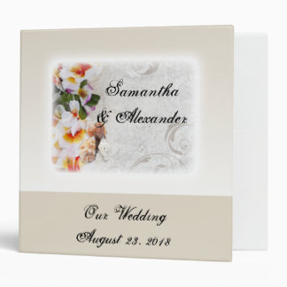 Plumeria Orchid Lei in the Sand Beach Wedding 3 Ring Binder