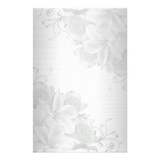 Plumeria satin-look floral stationery