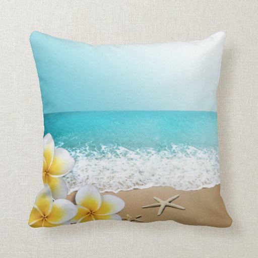 Plumeria Starfish Beach Tropical Hawaii Pillows