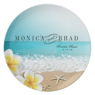 Plumeria Starfish Beach Tropical Hawaii Plate