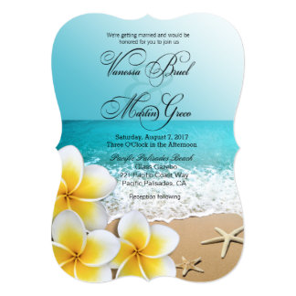 Plumeria Starfish Beach Tropical Wedding Card