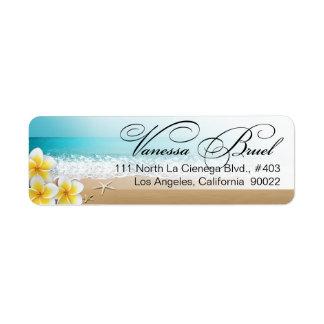 Plumeria Starfish Beach Tropical Wedding Hawaii Return Address Label