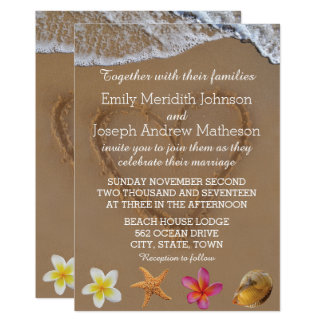 Plumeria Starfish Shell Wedding Invitations