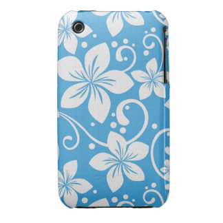 Plumeria Swirl Cyan 1 Case-Mate iPhone 3 Case
