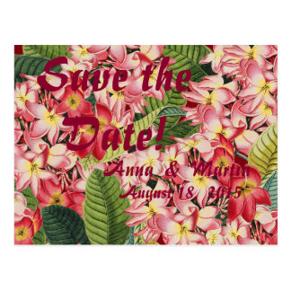 Plumeria Tropical Floral Save the Date Postcards
