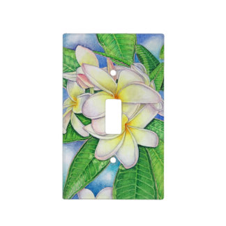 Plumeria Watercolor Light Switch Cover