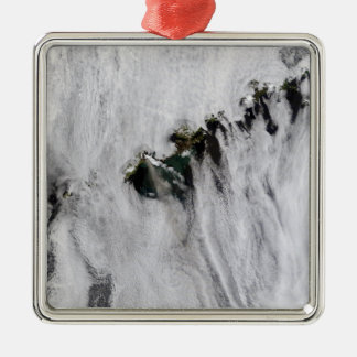 Plumes from Okmok Volcano, Aleutian Islands Silver-Colored Square Ornament