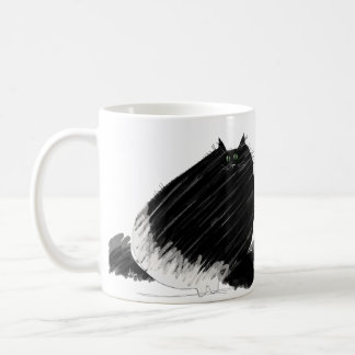 Plump black fluffy cat coffee mugs