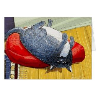 Plump cushion cat greeting card