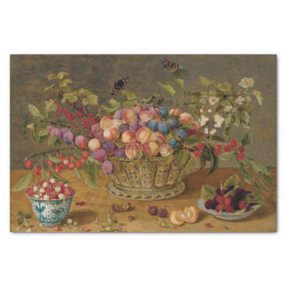 Plums, Apricots, Cherries and Currants in a Basket Tissue Paper