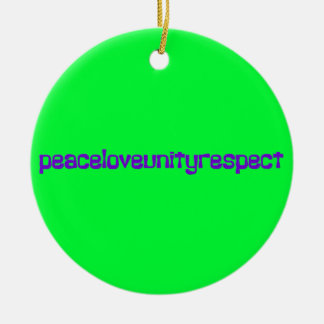 PLUR Peace Love Unity Respect Rave Purple Letters Ceramic Ornament