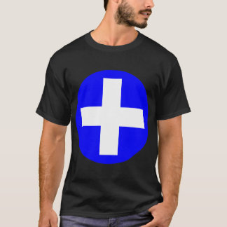 Plus Sign in white with blue T-Shirt