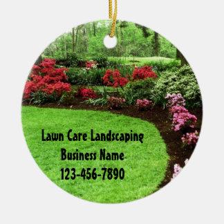 Plush Green Landscape Lawn Care Business Round Ceramic Ornament