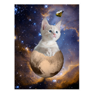 Pluto, Kitten, and New Horizons, Nebula and Stars Postcard
