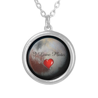 Pluto lovers silver plated necklace