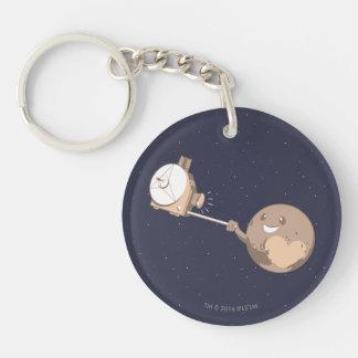 Pluto Selfie Double-Sided Round Acrylic Keychain