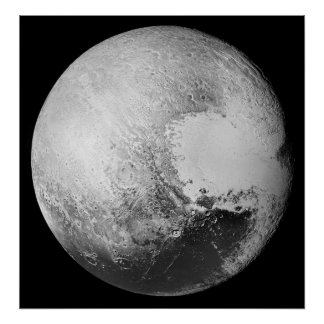 Pluto the (Dwarf) Planet High Detail Black/White Poster
