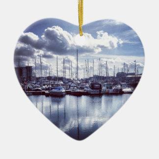 Plymouth boats ceramic heart ornament