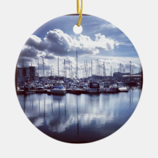 Plymouth boats round ceramic ornament